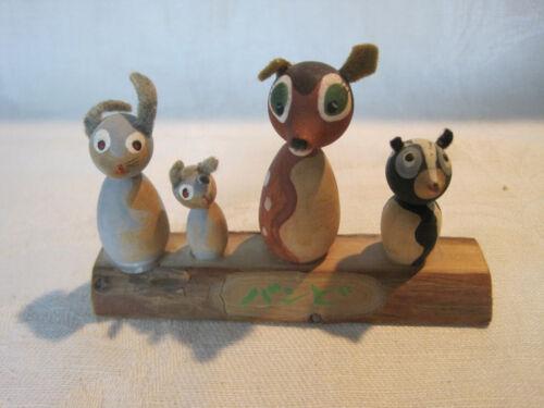 Vintage Japanese animal Kokeshi figurine, bunny rabbit, deer, skunk