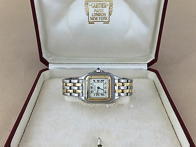 CARTIER PANTHERE WATCH TWO Row 18K Yellow Stainless Steel cartier Watch w/Box