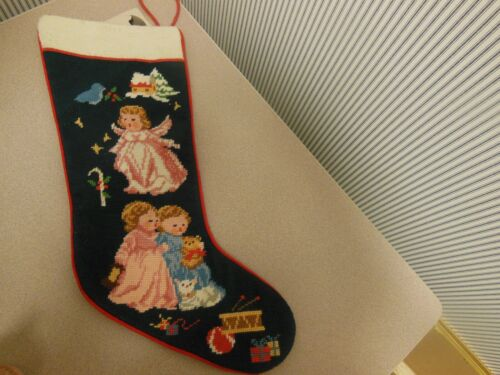 "Completed Needlepoint 19.5"" Stocking Christmas Angel & Children"