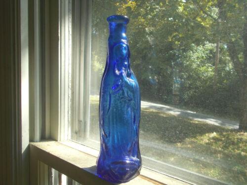 "BEAUTIFUL COBALT BLUE PONTILED VIRGIN MARY MADONNA BOTTLE 7 1/4""APPLIED HANDLE"