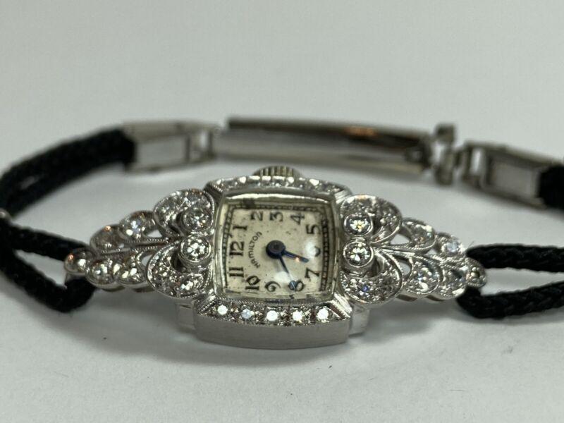 Beautiful Hamilton Platinum & Diamond Ladies Deco Watch on Black Cord