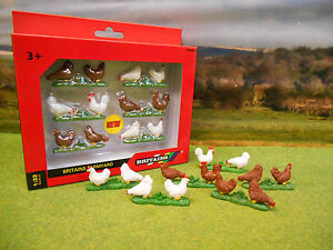 BRITAINS FARMYARD CHICKENS HENS PACK OF 6 42812 1/32 BRAND NEW