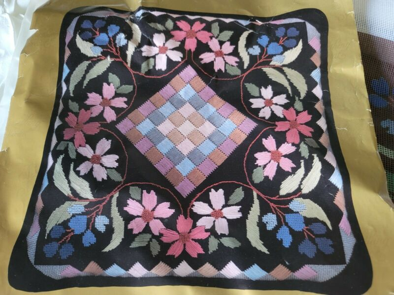 Something Special Floral Patchwork Needlepoint Pillow Kit