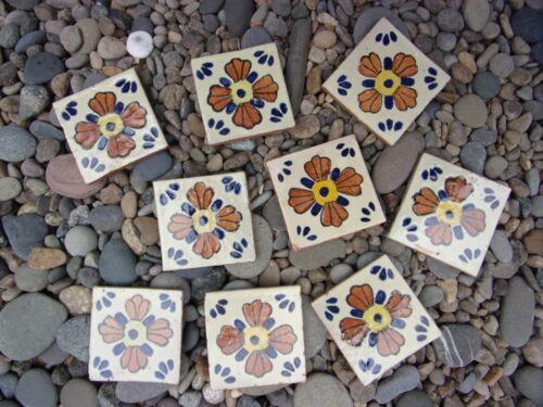 "9 antique clay garden tiles for mosaics~terra cotta~floral design~3 1/2"" square~"