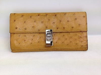 Auth Gucci Ostrich Leather Trifold Wallet Brown Vintage 4L170300