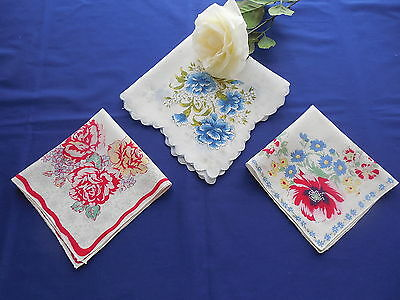 Lot of 3 Vintage Hand Embroidered Hankies