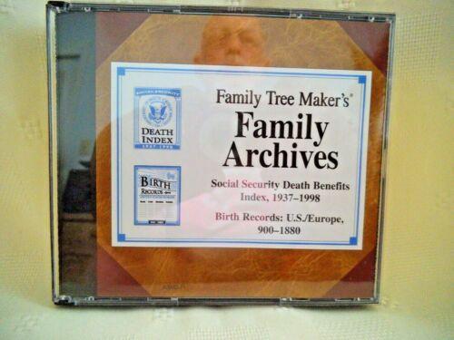 FAMILY TREE MAKER ARCHIVES ~ SOCIAL SEC INDEX 1937-98 & BIRTH RECORDS 3-CDS