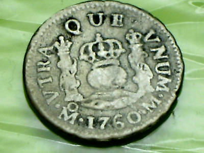 SPAIN SPANISH COIN 1760 HALF 1/2  REALE SILVER