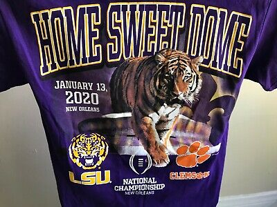 LSU Tigers 2020 Championship Men's Two Sided Short Sleeve T-Shirt 50% OFF     Championship Football Shirts