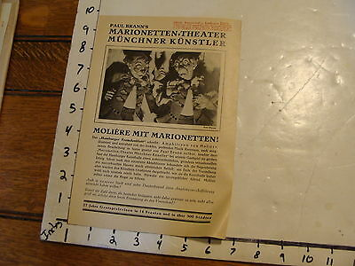 Vintage MARIONETTE Paper: 1933 Paul Brann's Munich one sheet Moliere in German