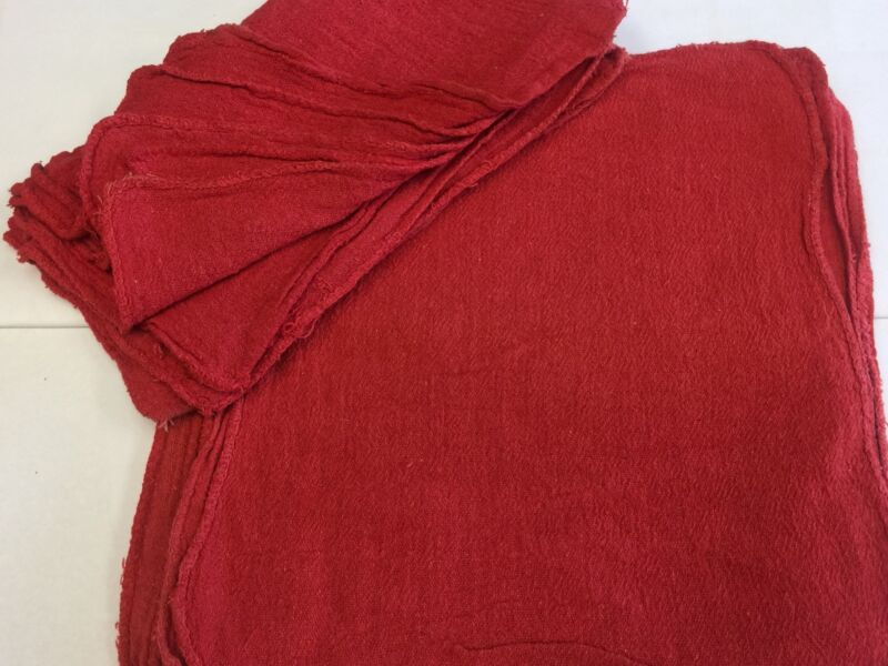 500 NEW INDUSTRIAL SHOP RAGS / CLEANING TOWELS RED COLOR 14x14