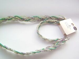 BRACELET & NECKLACE SET by DAISY & EVE – green and white NEW gift with tags