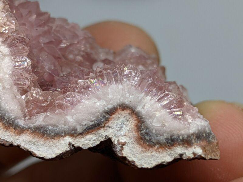 💜Pink Amethyst Slice Mineral Specimen Crystals Patagonia Argentina #2💜