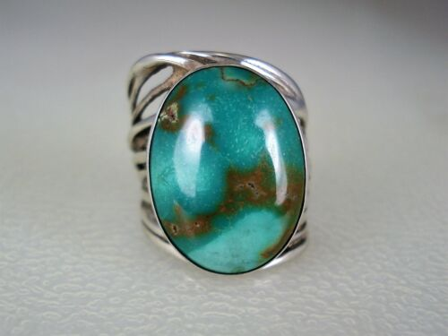 GORGEOUS Gusterman Santa Fe MODERNIST STERLING SILVER & TURQUOISE RING sz 6.5