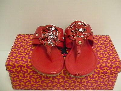 Womens Tory Burch Slippers Carnival Amanda Flat Thong Tumbled Leather Size 7