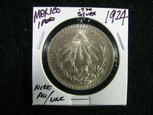 1924 MEXICO .720 SILVER 1 PESO AU/UNC