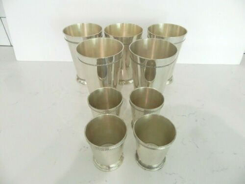 Mint Julip Brass Silver Plated Lacquered Cups (lot of 9)