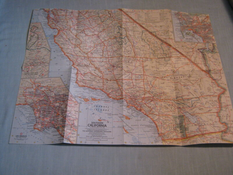 VINTAGE CALIFORNIA MAP National Geographic May 1966 MINT