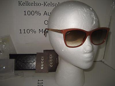 NEW GUCCI 3675/S Women Plastic Frame GG Logo Gold Metal Temple Sunglasses Case