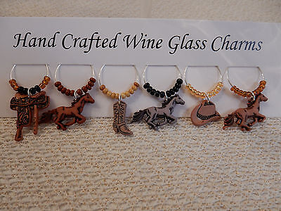 """""""WESTERN ,HORSES""""Set of 6 Hand Crafted Wine Glass Charms Drink Markers"""
