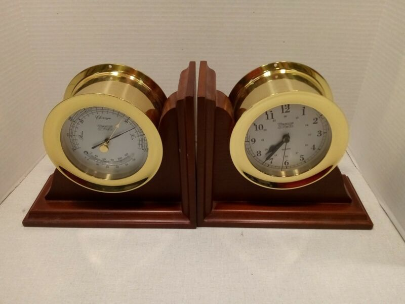 Weems & Plath Clock And Barometer Bookends