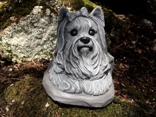 Yorkshire Terrier Concrete Cement Statue, Garden Statues, Pet Memorial Headstone