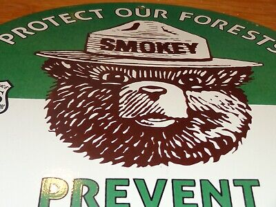 "VINTAGE 1951 SMOKEY THE BEAR PREVENT WILDFIRES 11 3/4"" PORCELAIN METAL SIGN"