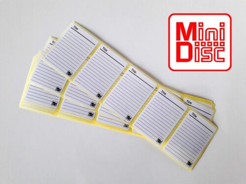 100x PRINTED MiniDisc labels MD Mini Disk (stickers) W