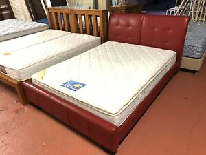 Leather queen bed and pillow top mattress delivery available