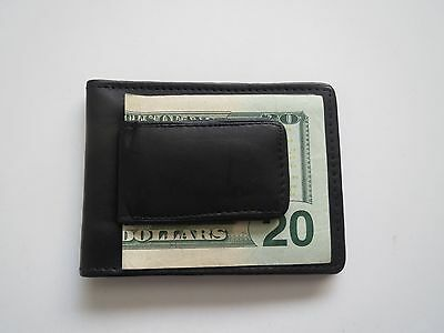 Men's Genuine Leather Bifold Black Money Clip Wallet ID Credit Card Money Holder