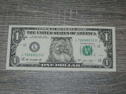 The Santa Claus $1 Dollar Bill Real U.S. One Dollar Bill Money Santa Dollar New