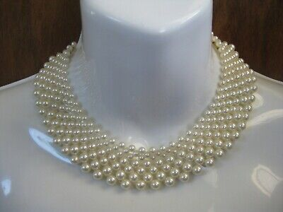60s -70s Jewelry – Necklaces, Earrings, Rings, Bracelets Vintage 1960s Simulated Faux White Pearl Bib Collar Necklace Bridal Accessory   $30.00 AT vintagedancer.com
