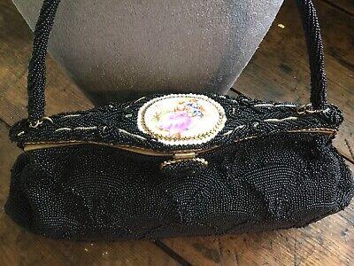 Antik Französisch Leo Miller Perlen Geldbörse ~ Handtasche M Bemalt Porzellan ~ - Perlen-geldbörse Handtasche Tasche