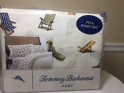 Tommy Bahama Full Size Sheet Set Beach Chairs Theam 100% Cotton  - Beach Theam