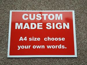 Custom made Personalised Plastic Sign in Red