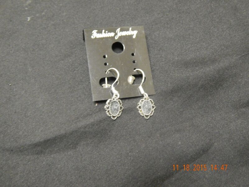 Specular Hematite Dangle Earrings -Silver Plated Hooks Hand Crafted Made in USA
