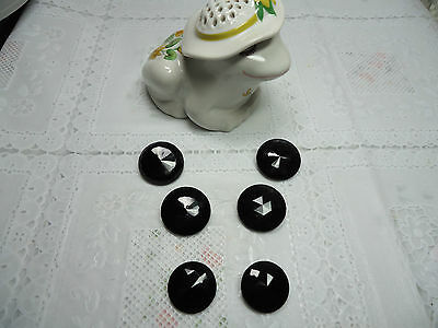 Vintage Black Faceted Glass Shank Buttons-Lot of 6