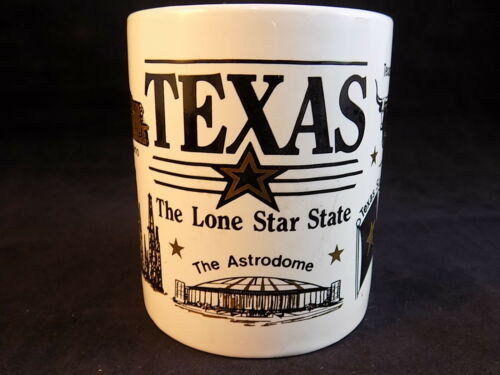 Vintage 1992 TEXAS THE LONE STAR STATE White Porcelain COFFEE MUG