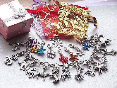 Kinder WEIHNACHTSGESCHENK für Mädchen Armband 14 Anhänger Tiere Charms Armkette