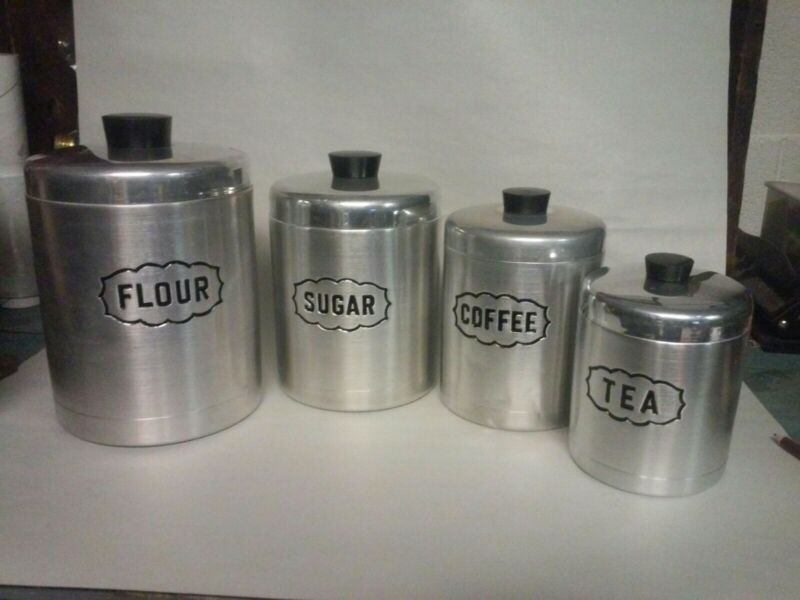VINTAGE  ALPINE STEELMASTERS  CANISTER SET OF FOUR EXCELLENT MADE IN ITALY