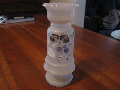 "Vintage ""Bristol"" Frosted Glass Hand Painted Floral Vase"