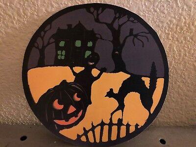 Vintage Halloween Scenes (Vintage Repro Halloween Scene JOL Haunted House Ghost Cardstock Decoration,)