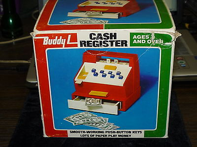 VINTAGE Buddy L cash register, toy & BOX    #2509 With Paper receipt dispenser