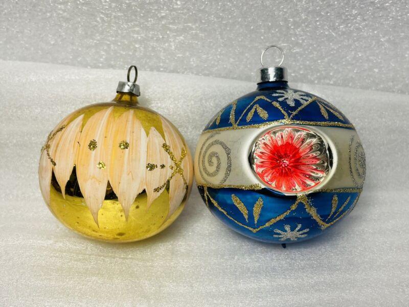Set 2 Vintage W Germany Mica Round Mercury Glass Christmas Tree Ornaments Balls