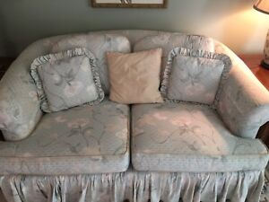Two (2) Barrymore love seat couches. And wing back chair
