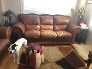 Matching couch and chair leather