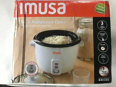 IMUSA USA GAU-00011 Electric Nonstick Rice Cooker 3-Cup Uncooked 6-Cup Open Box