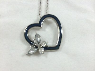 Butterfly Necklace Charm Pendant (New Mood Heart with Rhinestone butterfly necklace Color Change Charm Pendant )