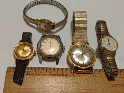 VINTAGE 5 LOT TIMEX WATCHES 16860 10678  & MORE