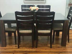 Modern 6 Seater Timber Dining Table and Chairs Liverpool Liverpool Area Preview